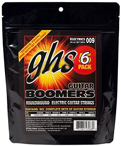 GHS Boomers - Corde per chitarra, extra light, misura da .009 a .042, 5 pz