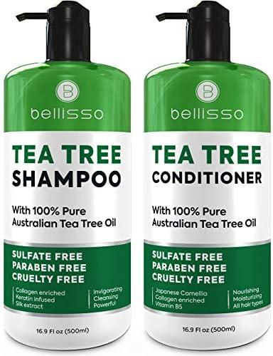Tea Tree Oil Shampoo and Conditioner Set Anti Dandruff Sulfate Free Scalp Treatment Antifungal product image
