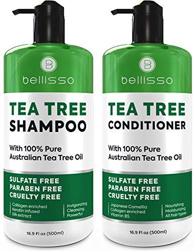 Tea Tree Oil Shampoo and Conditioner Set - Anti Dandruff Sulfate Free Scalp Treatment - Antifungal and Antibacterial