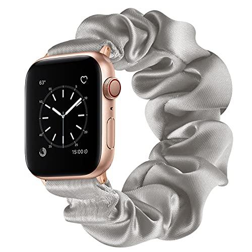 Compatible con Apple Watch Series 1 2 3 4 5 6 SE Bandas, Correa Scrunchie Correa de Reloj Elástica para Mujeres Correa de Pulsera de Tela Color Sólido Moda para iWatch 38/40mm 42/44mm,Gray,42/44mm(L)