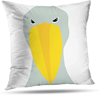 Geericy Farming Chicken Decorative Throw Pillow Covers, Shoebill Stork Grey and Yellow and Yellow Stock African Cushion Cover 18 x 18 Inch for Bedroom Sofa