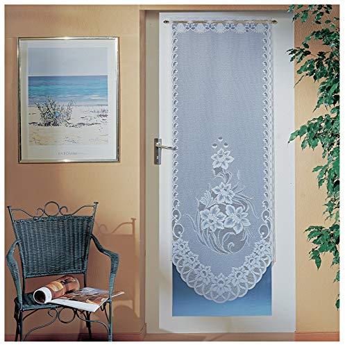 heimtexland ® Tür Panneaux Gardine Jacquard Blumen Bordüre Weiß HxB 175x65 Scheibengardine Türgardine Gebogt Typ725
