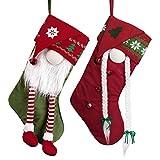 Valery Madelyn 2pcs Medias de Navidad, 46cm Calcetines de Navidad de GNOME Rojo Verde Blanco, Adornos de Navidad Tela con Tarjeta de Nombre, Decoración de Regalo Navidad