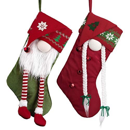 Valery Madelyn Weihnachtsstrümpfe 46cm 2er Set Nikolausstrumpf aus Textil Stoff Weihnachtsdeko Große Nikolausstiefel mit Weihnachtswichtel Figuren zum Befüllen und Aufhängen für Kamin