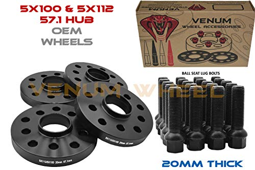 4 PC 20 MM Thick 5x100 MM & 5x112 Black HUB Centric Wheel SPACERS Works with Volkswagen and Audi