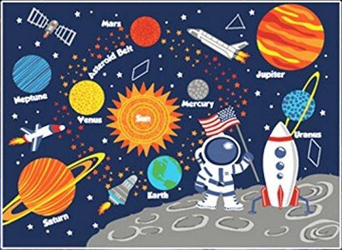 GRENSS Tapis pour Enfants Tapis d'apprentissage éducatif planètes Galaxie Stars Blue 1m x 1.3m pour l'Fun Zone de Tapis Tapis maternelles Système Solaire Rec
