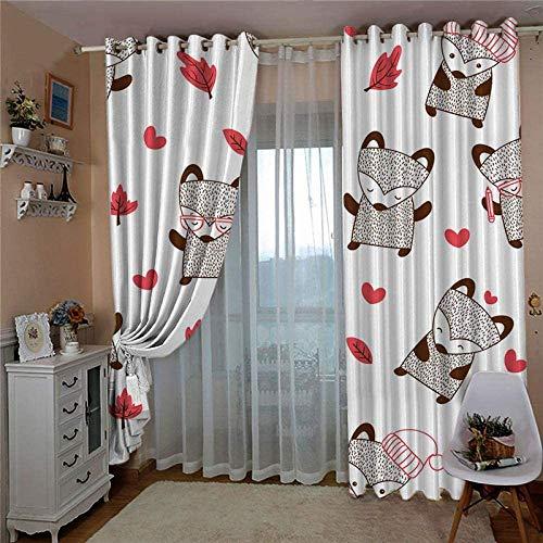 HHJJ Cortinas opacas para niños, color del dormitorio y ojales de animales, cortinas térmicas para oscurecer la sala de estar, 2 paneles, 2 x ancho 66 x largo 72 pulgadas (tamaño: 234 x 138 cm)