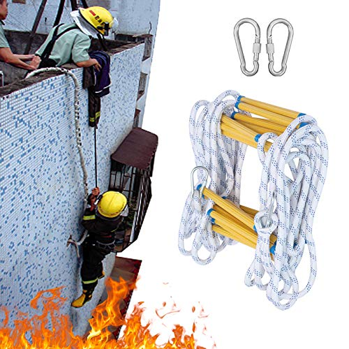 Escalera contra Incendios, Seguridad Durable con Ganchos Escaleras De Cuerda De Escape Capacidad De Carga hasta 400kg Adultos Y Niños Escaleras Blandas ZHANGXU (Size : 20m)