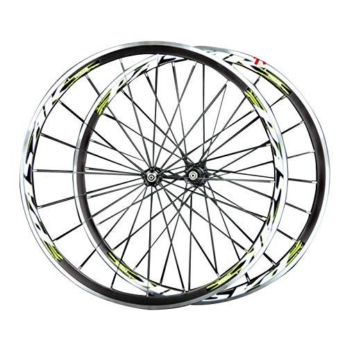 CHICTI 700C Bicycle Wheelset,Double Wall MTB Rim 4 Peilin Bearing C Brake V Brake Cycling Hub Bicycle Wheel Outdoor (Color : Green)