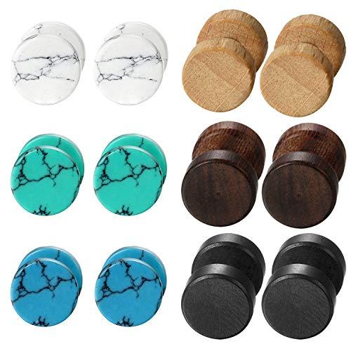 roncent 6 Paare Ohrstecker Set Holz Hantel Ohr Piercing Türkis Ohr Ohrringe Edelstahl Ohrringe klassische Runde Design Unisex 8mm Mehrfarbig …