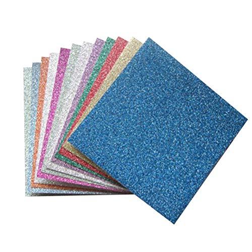 ULTNICE Fogli di Carta Origami Glitterati per progetti di Artigianato Artistico 12 Fogli