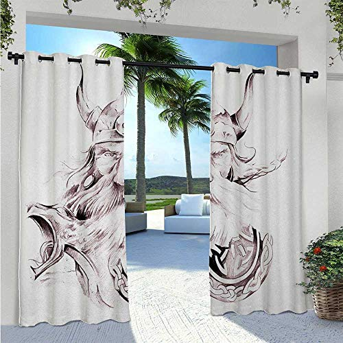 Custom Outdoor Curtain Wise Old and Brave Viking Warrior with his Long White Beard and Armour Print Light Filtering Outdoor Curtains for Keep Your Porch Much Cooler Dried Rose White W72 x L96 Inch