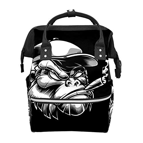 Funny Funky Gorilla Diaper Bags Mummy Tote Bags Large Capacity Multi-Function Backpack for Travel