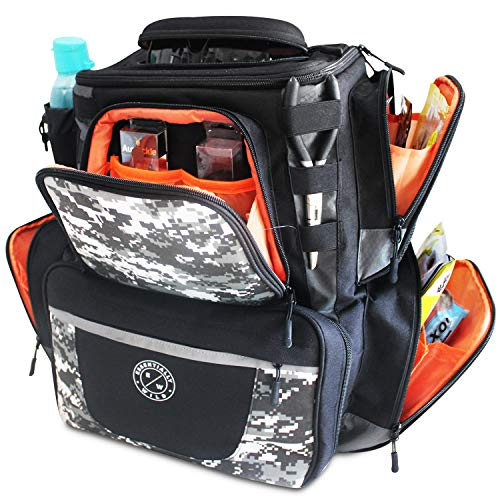 Essentially Wild Fishing Tackle Backpack Large Fishing Bag with 4 Tackle Trays Boxes Multi...