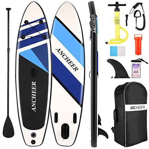 Stand Up Paddle,Tabla de Paddle Surf,SUP Hinchable Ultraligero (7.89kg)con Mochila Gratis,Bolsa Impermeable Para Teléfono Móvil,Remo Ajustable,Bomba de Aire Bidireccional,Máximo de 130kg(Dark Blue)