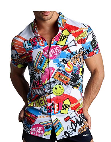 Bang Men's Button Down Short-Sleeve Hawaiian Shirt Stretch Tapered Fit w/Front Pocket (SUPER POP - M)