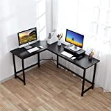 Computer Desk - CrazyLynX Corner Desk PC Workstation Table with Monitor Stand for PC Laptop, for Home Office, Wood & Metal …