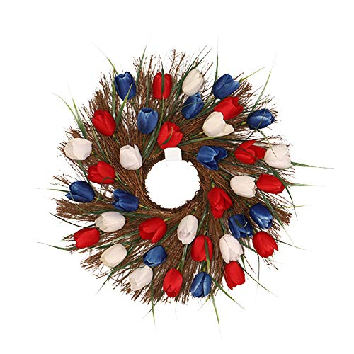 11.8 Inch Spring Wreath, wuayi Fake Farmhouse Wreath for Front Door Hanging Bedroom Wedding Party Garden Fireplace Indoor Outdoor Wall Window Home Housewarming Festival Garland Gift