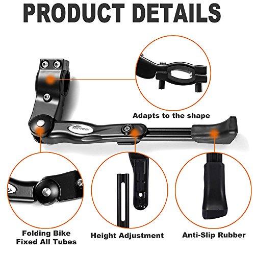 Toptrek Fahrradständer Einstellbarer Universal Hinterbauständer Aluminiumlegierung Fahrrad Ständer Anti-Rutsch Seitenständer für 24-28 Zoll Mountainbike/Rennrad/BMX/MTB - 2