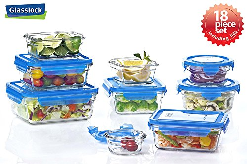Glasslock Assortment Food Storage Glass Containers 18pc set Blue Lids Anti-Spill Proof Airtight...