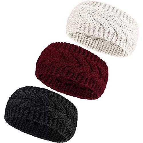 3 or 6 Pieces Headband Womens Cable Knitted Hairband Winter Chunky Ear Warmer Black Red and Beige 3 Pieces