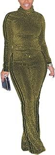 Aro Lora Women's Glitter Stripe 2 Piece Outfit High Neck Tops + Wide Leg Pant Set Jumpsuit Romper