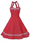 Timormode Vestido Cóctel Corto Vintage 50s Cuello Halter Vestido De Fiesta Rockabilly Mujer Rojo Puntos L