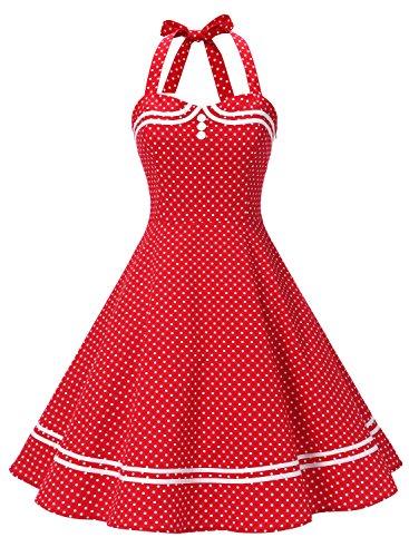 Timormode 50er Vintage Ballkleider Kurz Baumwoll Rockabilly Retro Cocktail Kleid 10387 Rot Punkte 3XL