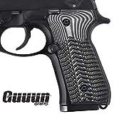 Guuun Beretta 92 Grips G10 Full Size Beretta 92fs 96 Grips Standard ECG Texture - Gray/Black