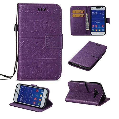 Ycloud PU Cuero Funda para Samsung Galaxy Core Prime (G3608) Cierre Magnético Flip Billetera Soporte Función con Ranuras Diseño Elefante Motivo Púrpura Carcasa