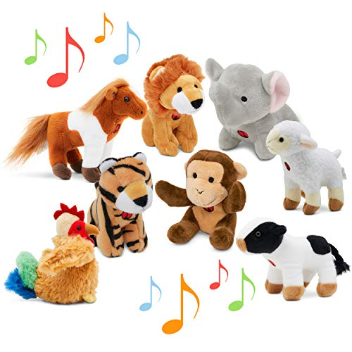 Animal Toys Set with Sound (Set of 8) | Jungle & Farm Talking Animals | Cow  Horse  Sheep  Rooster  Monkey  Lion  Tiger & Elephant Plush Toys for Boys & Girls