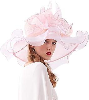 COMVIP Women Organza Foldable Summer Sun Hat Detachable Flower Fascinator