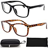 Nearsighted Myopia Distance Driving Shortsighted Glasses (2 Pair) for Men Women Square Shape -2.00