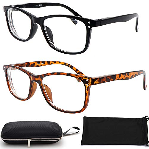 Nearsighted Myopia Distance Shortsighted Glasses (2 Pair) for Men Women + Free Hard Case Storage (1.00)