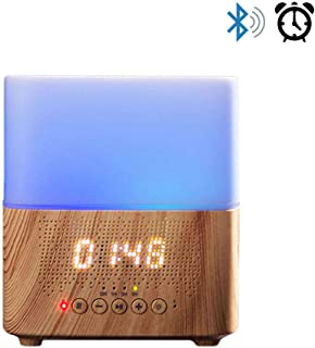 Daroma Alarm Essential Oil Diffuser,300ml Aromatherapy Scent Mist Fragrance Ultrasonic Room Humidifier Home Office Gift, Alarm Clock, Bluetooth Speaker, Night Lamp, Ecru Wood
