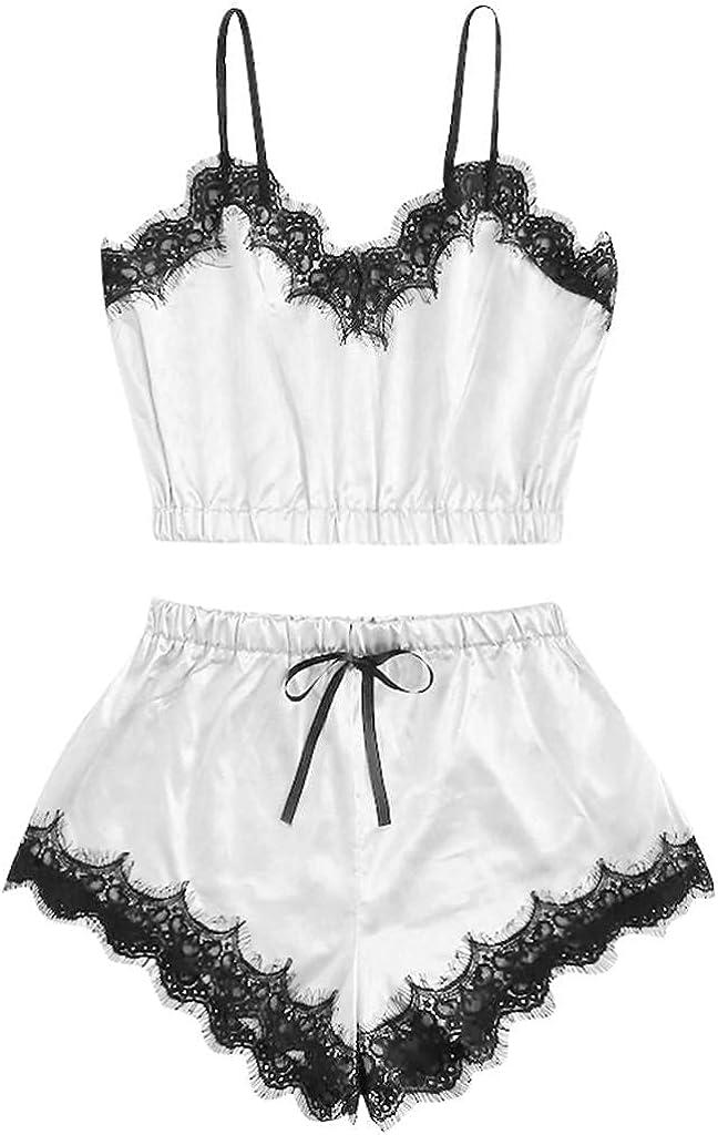 FGDJEE Womens Sexy Sleepwear Lingerie Sleeveless Strap Cami Top Nightwear Lace Trim Satin Shorts Pajamas Set