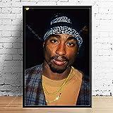 Legendario hip-hop rapero super estrella cantante de música Tupac Shakur 2PAC moda foto retrato lienzo pintura pared arte cartel sala de estar ventiladores dormitorio decoración del hogar