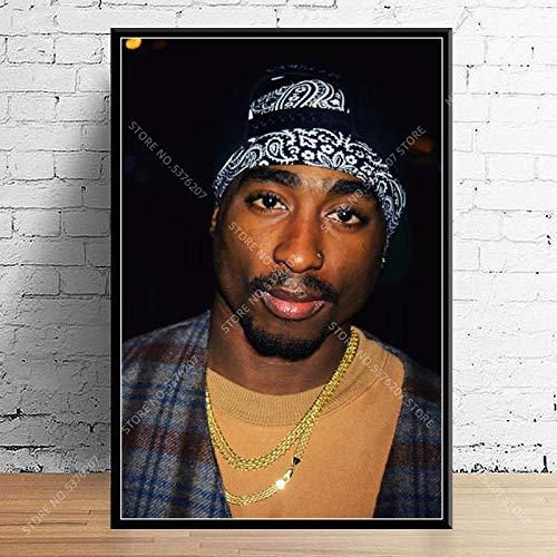 WIOIW Legendary Hip-Hop Rapper Super Star Music Singer Tupac Shakur 2PAC Fashion Photo portrait Canvas Painting Wall Art Poster Living room Fans Bedroom Home Decor