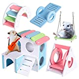 Labeol 5 PCS Lovely Hamster Play Toys Ecological Wood Rainbow Bridge Seesaw Swing DIY Cottages Climb and Play Toy for Dwarf Hamster Gerbil Mouse Rat Chinchilla Boredom Breaker Small Animal Toys