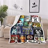 LOVINSUNSHINE Jack Russell Terrier Blanket Bulldog Fleece Blanket Kids Super Soft Fleece Blanket for Couch Sofa Bed Sherpa Dog Pattern Blanket Funny Blanket Gifts Dog Lovers Gifts for Kids 50x60 -