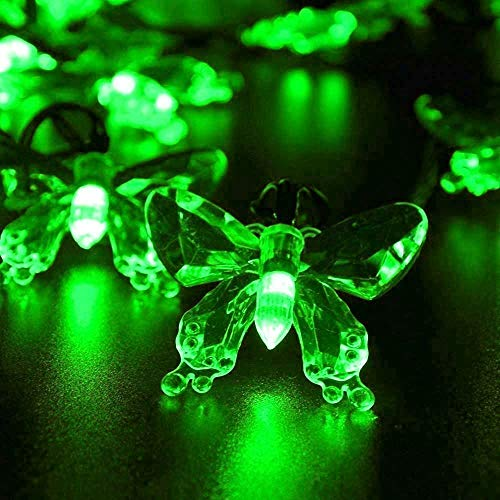 Solar Butterfly String Lights, 4.8M/16FT 20LED Solar Garden Butterfly String Lights Waterdicht voor tuin, tuin, pad, hek, trappen, achtertuin, terras decoratief