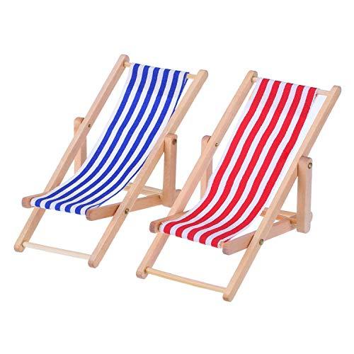 2 pièces 1 : 12 miniature pliable Chaise de plage en bois Chaise longue Chaise longue Mini meubles Accessoires avec Rouge/bleu à rayures pour intérieur ou extérieur