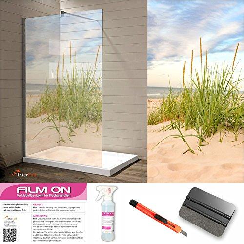 Glasdekor Dusche Sichtschutz und Trennwände, Druck auf Glasdekorfolie in Sandstrahloptik, hochwertig bedruckte Glasdekorfolien mit einer satinierte Oberfläche aus eigener Produktion! (200 x 100 cm)