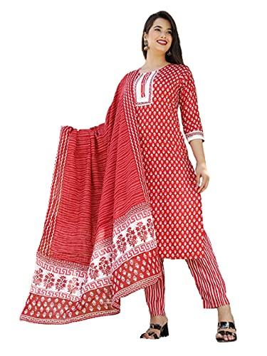 Indian Mujeres Suave Rojo Impreso Rayón Formal Kurti & Rayas Pantalón Dupatta Conjunto Niñas Kurta 485i - - XXL