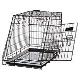 Pawhut Jaula Plegable de Metal para Perros Forma Trapezoidal Transportador 76x48x55cm 10kg Negro