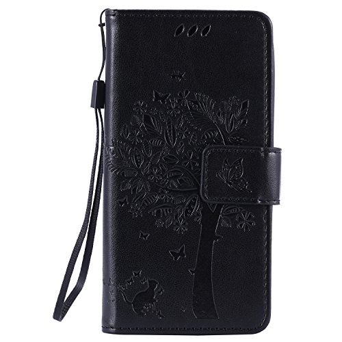 NEXCURIO [Embossed Tree] LG Leon LTE/Tribute 2 / Power/Destiny/Sunset Wallet Case with Card Holder Folding Kickstand Leather Case Flip Cover for LG Leon (Black)