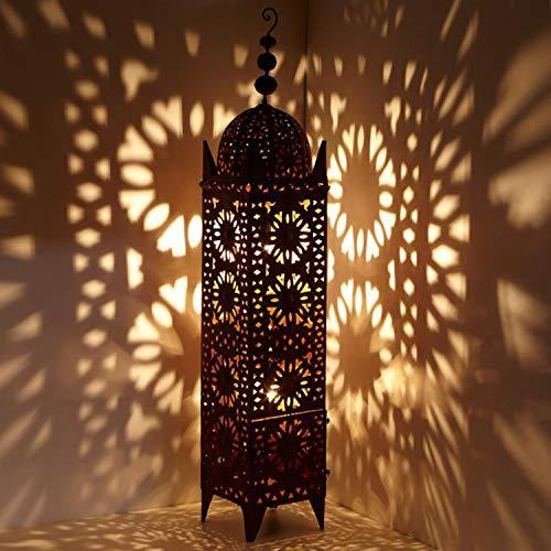 Casa Moro | Farol oriental de hierro marroquí Hilal, 144 cm de alto x 26 cm de ancho en color marrón oxidado, para exterior e interior, artesanía de Marruecos | L1658
