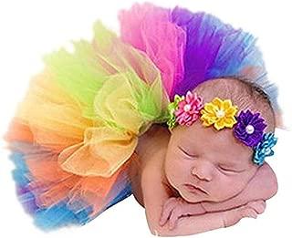 Pinbo Newborn Baby Girls Photo Prop Flower Headband Rainbow Tutu Skirt