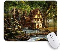 EILANNAマウスパッド ファンタジーの森の妖精の家風車グリーンツリーブリッジ川自然 ゲーミング オフィス最適 高級感 おしゃれ 防水 耐久性が良い 滑り止めゴム底 ゲーミングなど適用 用ノートブックコンピュータマウスマット