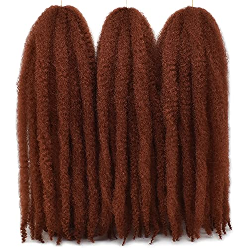 Ms.Priceless 24 Inch Marley Hair Marley Twist Braiding Hair for Faux Locs for Butterfly Locs Long Afro Kinky Cuban Twist Crochet hair for Black Woman Copper Red Colour (#350, 3Packs-24 Inch)